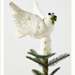 Anthropologie felted dove tree topper NWT